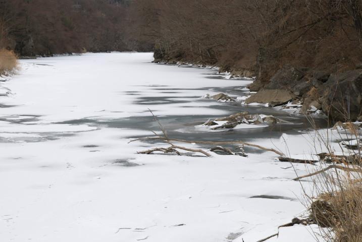 三峰川の結氷(伊那市高遠町) - 2011/1/30(日)