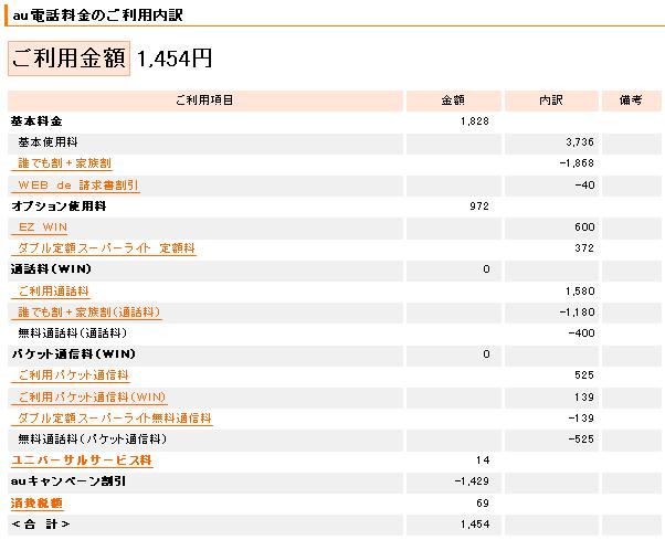 [携帯料金] 2011/7 使用分 - 1,454円(au)