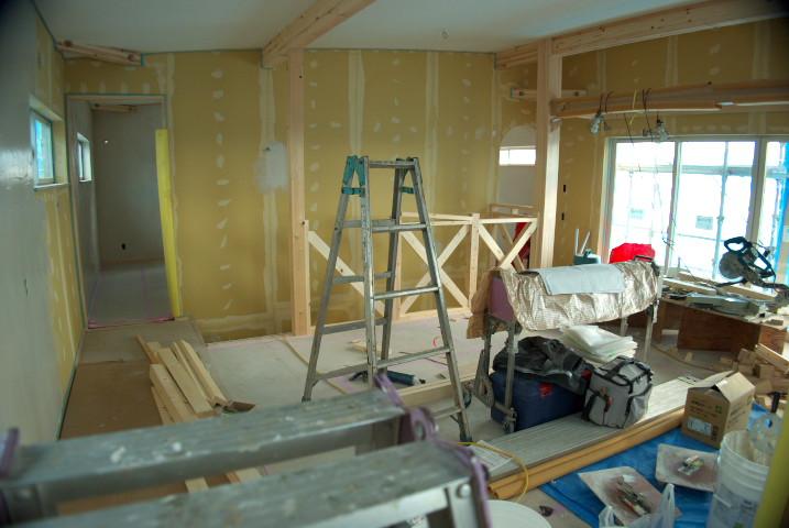 [あっとホーム42] 残りの木工事完了検査(一階部分) - 2012/1/9(月)