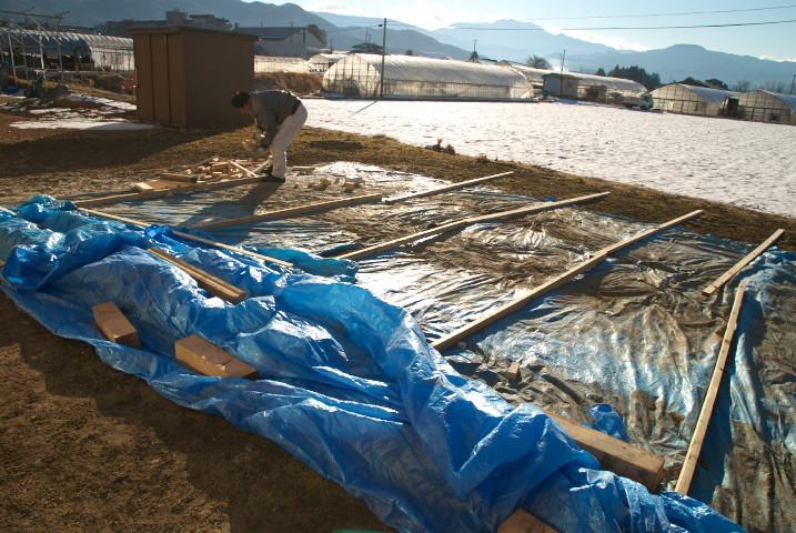[施主施工15] デッキ手摺りのサンディングと塗装の予定だった。 - 2012/1/31(火)