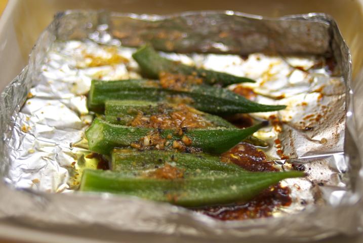 オクラの醤油ガーリックトースター焼き