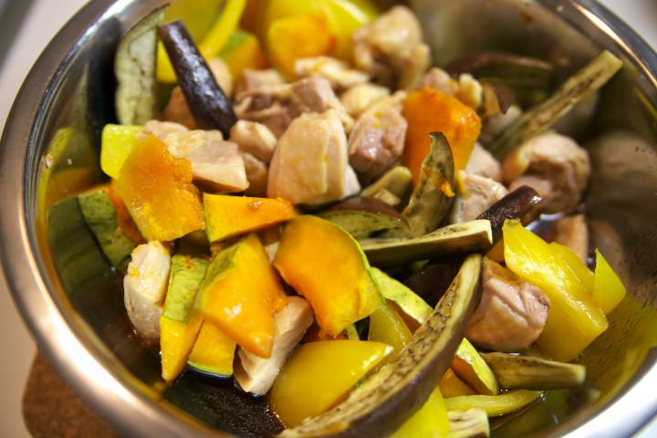 鶏と焼き野菜の煮浸し