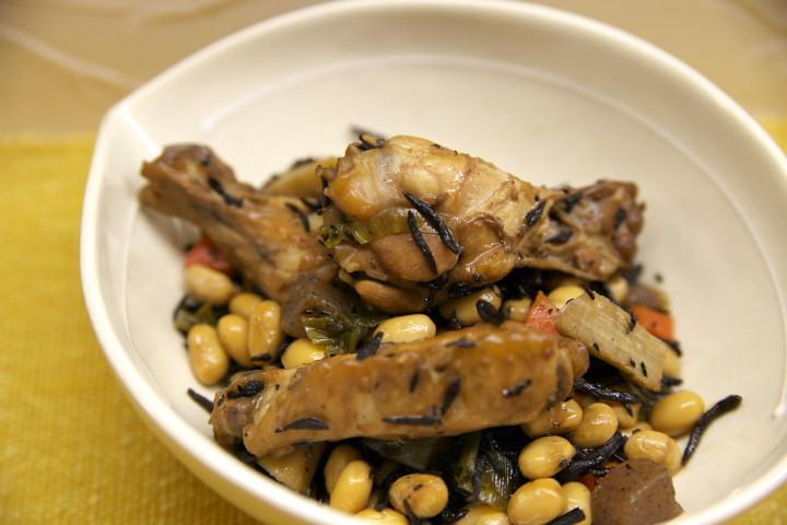 大豆の含め煮+鶏手羽