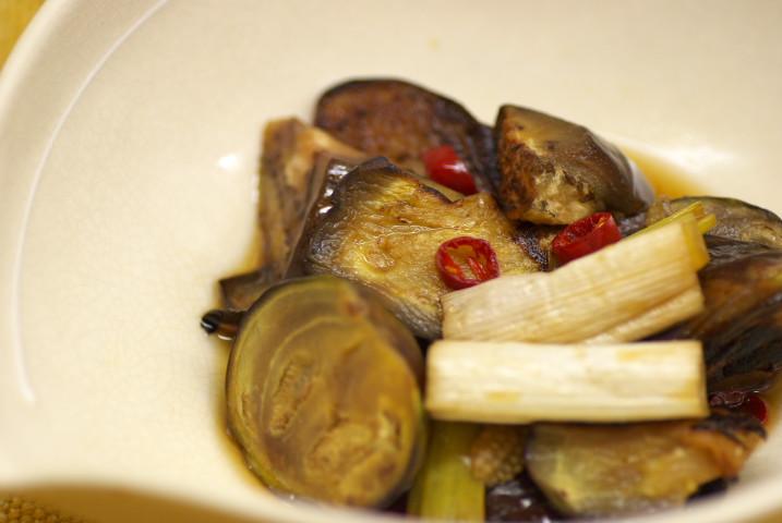 茄子と葱のすっぱい煮浸し